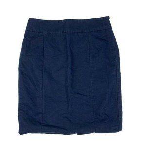 Ann Taylor LOFT 4 Navy Linen Pencil Skirt Straight